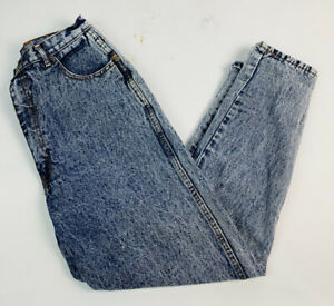 Vintage-80s-90s-12-Womens-Acid-Wash-High-Rise-Mom-Jeans-Taper-Leg-Bleached-Denim