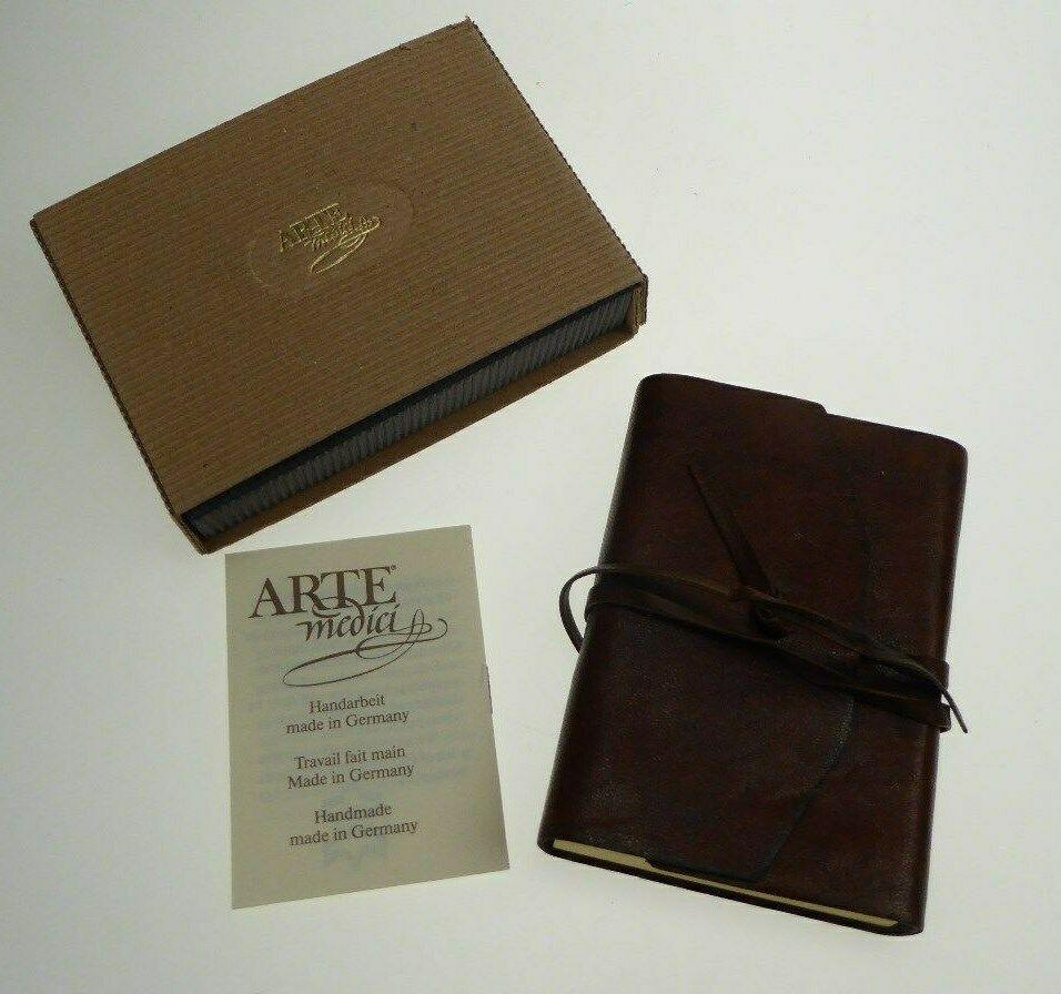 Notebook in Fine Leather Case Brown for the Handbag Arte M. German Handarb.