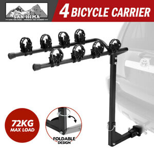 """4 Bicycle Carrier Car Rear Bike Rack 2"""" Towbar Hitch Mount Steel Foldable"""