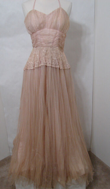 Vintage FRED PERLBERG Pink Net Lace Taffeta Swing Gown S