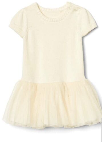Baby Gap Girl Sweater Tutu Dress Ivory Tulle Short Sleeve Size 6-12 Months NWT