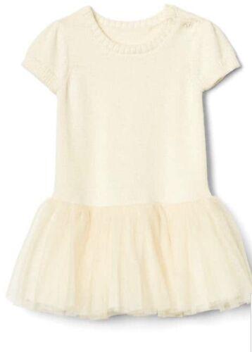 Baby Gap Girl Sweater Tutu Dress Ivory Tulle Short Sleeve Size 6-12 Months NWT