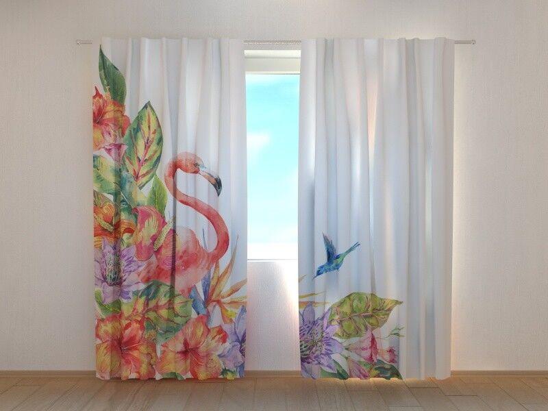 Fotogardinen  Flamingo  Fotovorhang Vorhang Gardinen 3D Qualität Bild, Nach Maß   Elegant Und Würdevoll