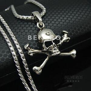 Skull crossbones pendant necklace silver plated mens hiphop biker image is loading skull crossbones pendant necklace silver plated mens hiphop aloadofball Gallery