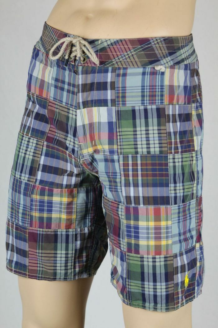 Ralph Lauren bluee Burgundy Plaid Patchwork Swim Shorts Trunks Yellow Pony NWT 40