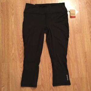 d91da7b16cc0b Reebok Women's Skinny Capri Black Yoga Pants Athletic Legging Mesh ...