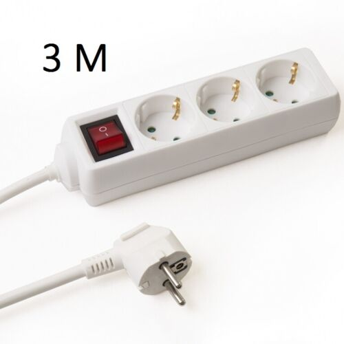 Regleta 3 enchufes 3 M con interruptor