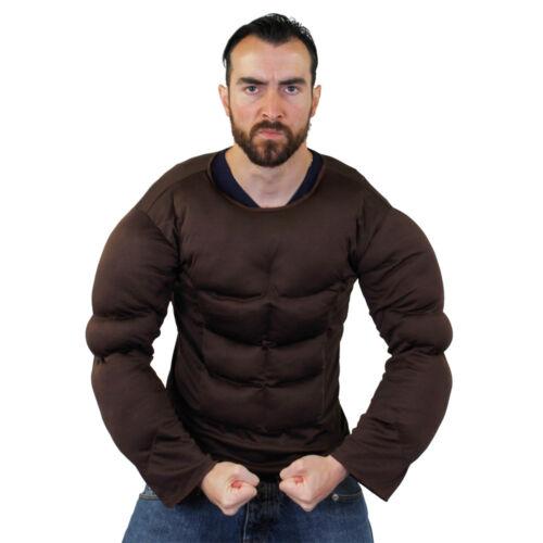 DARK BROWN FAKE MUSCLE CHEST PADDED SHIRT TOP FANCY DRESS SUPERHERO BODYBUILDER