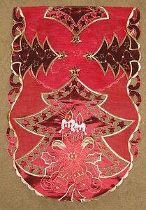 Weihnachtsbaum-amp-Kerze-bestickt-oval-Spitze-Tischlaeufer-40-6cmx91-4cm
