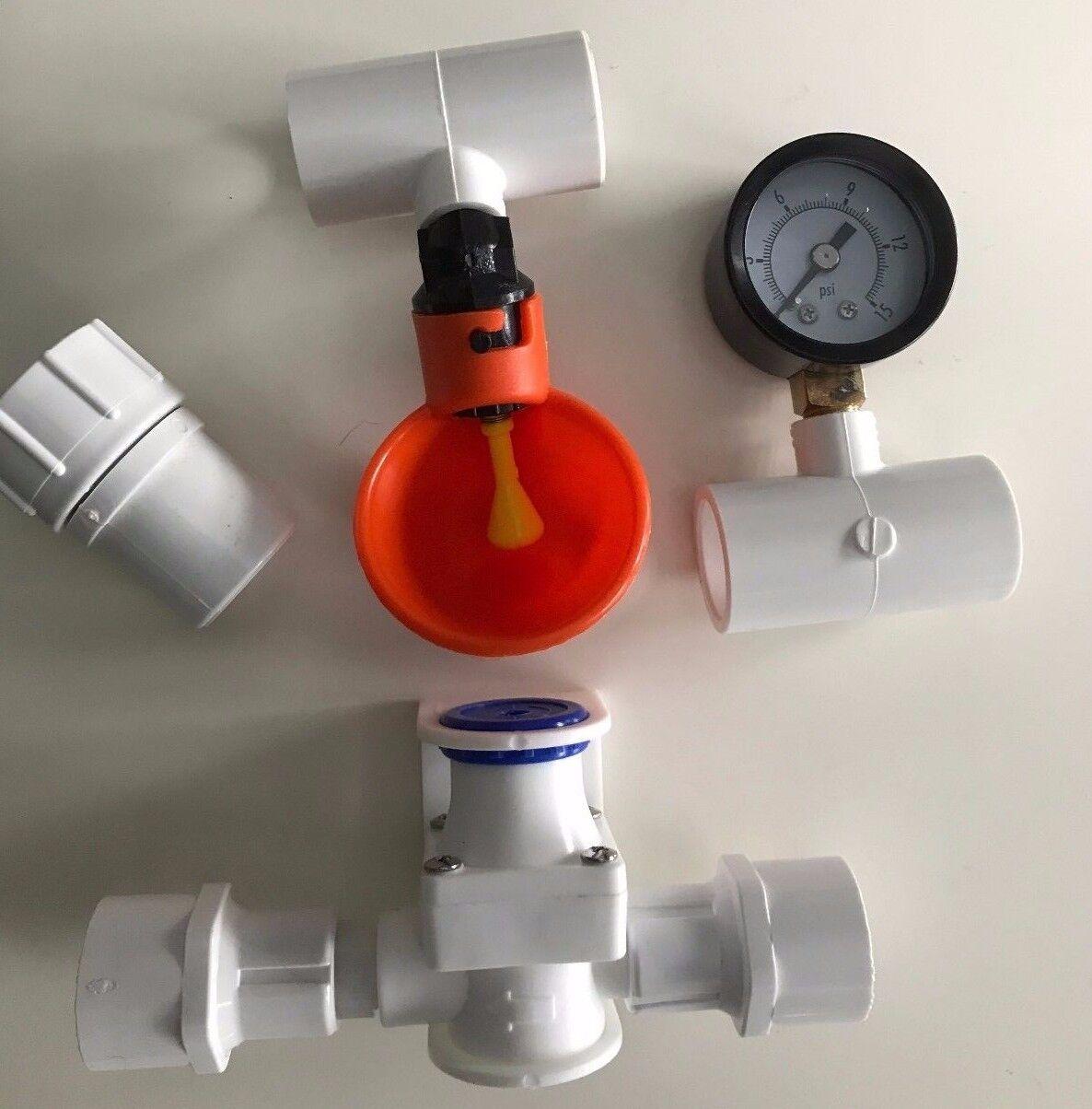 2 Cup Poultry Watering System + Tees, Pressure Regulator, Gauge + Hose Adapter