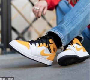 Nike Air Jordan 1 Mid University Gold White Black 554724-170 Men's ...