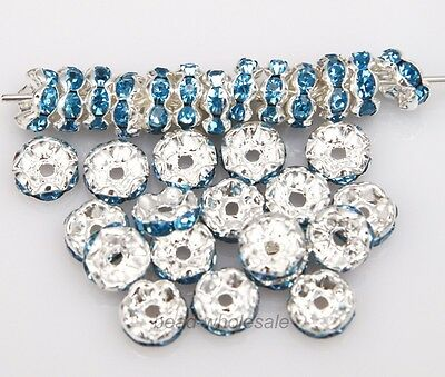 New 100pcs Crystal Rhinestone Paved Silver Plated Metal Spacer Beads 8mm