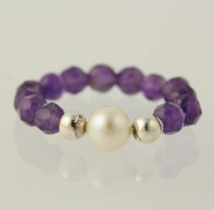 New-Amethyst-amp-Pearl-Ring-Sterling-Silver-Beaded-Band-Women-039-s-Size-6-5-Stretch