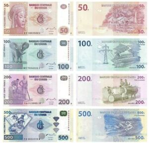 CONGO-DEMOCRATIC-REPUBLIC-SET-4-PCS-50-100-200-500-FRANCS-2003-2013-UNC