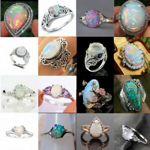 Fashion-925-Silver-Ring-White-Blue-Fire-Opal-Wedding-Proposal-Jewelry-Sz-5-10