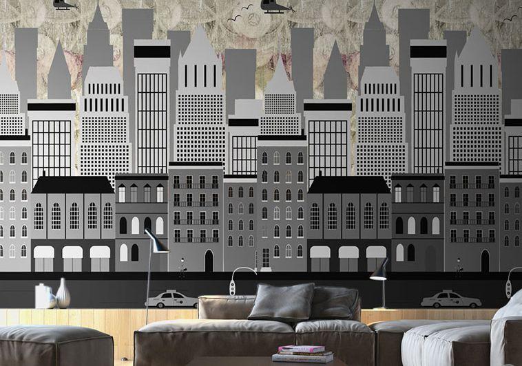 3D Building Simple LinesWand Papier Wand Drucken Decal Wand Deco Innen Wand Murals
