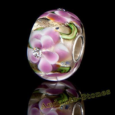 Andante-Stones Massiccio Argento 925 vetro Sealife bead rosa Zirconia #1686 + REGALO