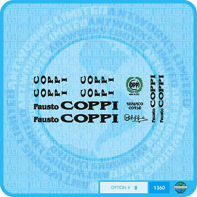 07072 Coppi Bicycle Tubing Stickers Transfers Decals