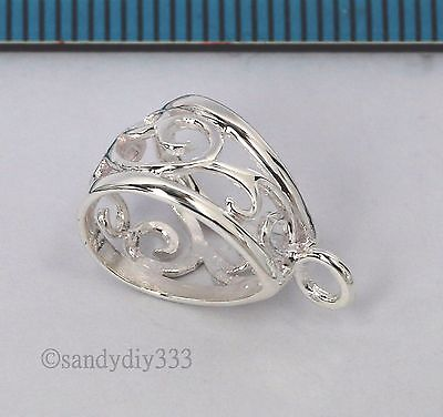1x STERLING SILVER BRIGHT FLOWER SLIDE BAIL PENDANT CLASP CONNECTOR  #2615