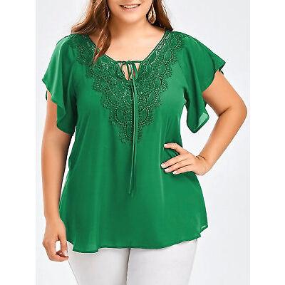 Women's Summer Chiffon Short Sleeve Casual Shirt Tops Blouse T-Shirt Plus size