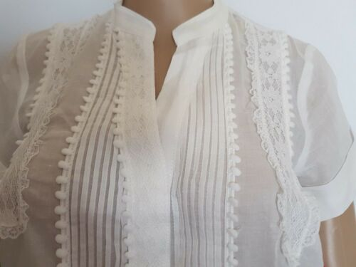 womens white short sleeved loose retro button up casual long length blouse//top