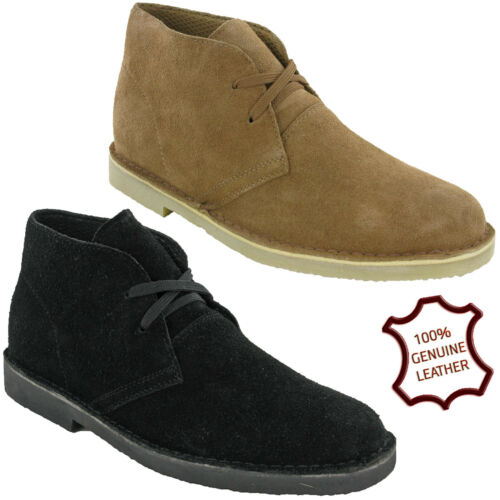 Mens Desert Boots Leather 2eye Soft Suede Ankle Padded Comfort Shoes Tosh UK4-11
