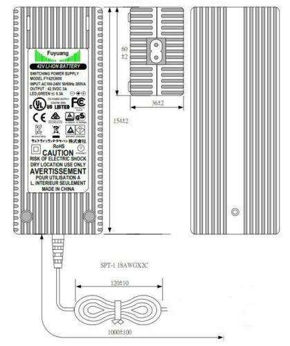Enerpower Li-Ion Ladegerät 36V ersetzt Derby Cycle Impulse BSC4203000 XLR-4 3A