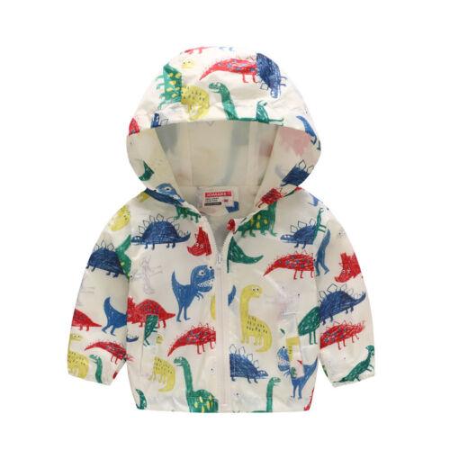 Toddler Kids Hooded Wind Jacket Boy Girl Cartoon Hoodie Warm Coat Outwear Clothe