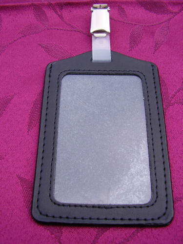Genuine Leather ID Pass Card//Badge Holder+Belt Clip,Police//SO19//Security//SIA PS