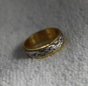 24k Yellow gold plated spinner band ring size 5 USA Mad