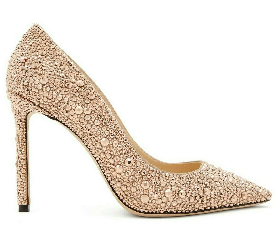2850 NEW Jimmy Choo ROMY pink Pink Crystals Embellished Pumps shoes WEDDING 42