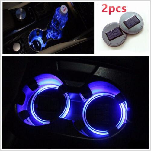 2PCS Car Solar Cup Holder Bottom Pad LED Light Cover Trim Atmosphere Lamp Lights