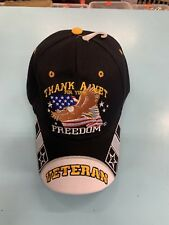 Thank A Veteran For Your Freedom With Eagle Flag Adjustable Black Baseball Hat