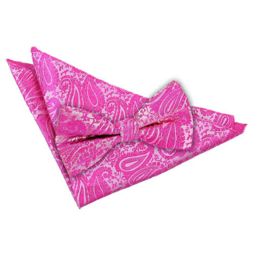 Fuchsia Pink Mens Bow Tie Hanky Set Woven Floral Paisley Wedding Bowtie by DQT