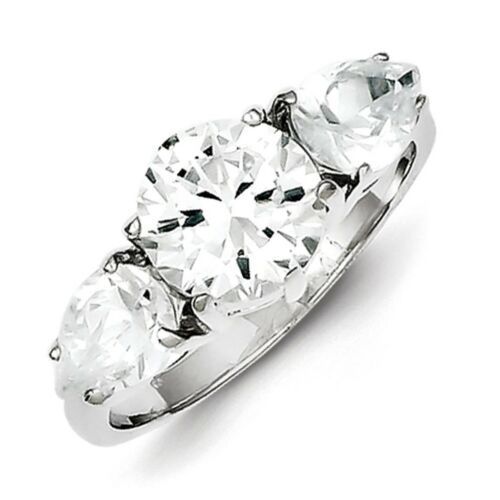 925 Sterling Silver Polished Round /& Pear 3 Stone CZ Anniversary Ring Size 6-8