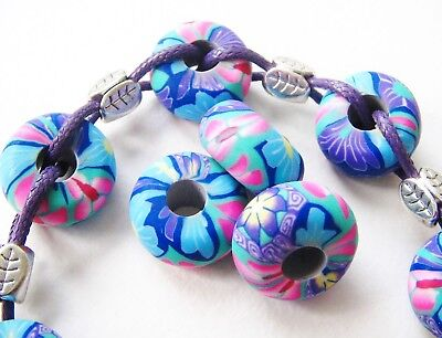 Fimo Perlen Röhre Sonnenblume 7,5x30mm 5 Stück SERAJOSY Polymer Clay Beads