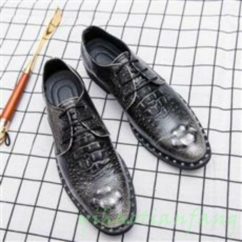 Mens Dress Formal shoes Croco Lace Up Round Toe Rivet Leather Oxfords Wedding