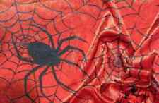 1 Metre Black Spiders and Web on Red Halloween Polyester Crushed Velour Fabric