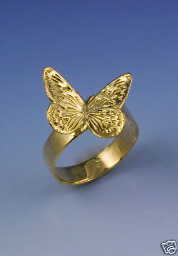 Closed Wing Butterfly Ring - 14K Yellow or White gold