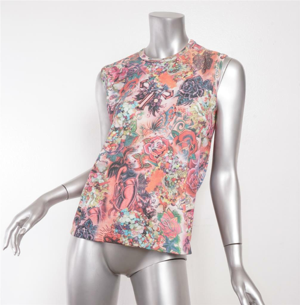 COMME DES GARCONS 2003 Multi-Farbe Tattoo Print Graphic Sleeveless Top M NEW