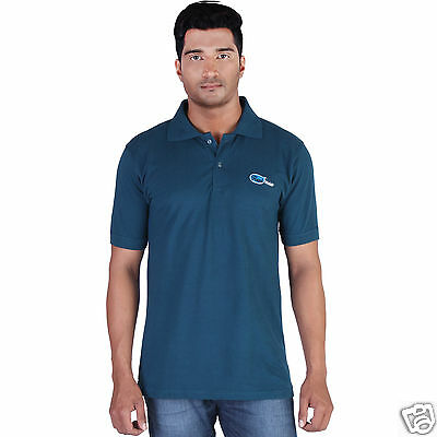 Fleximaa Men's Collar (Polo) T-Shirt Petrol Blue Color with Embroidery