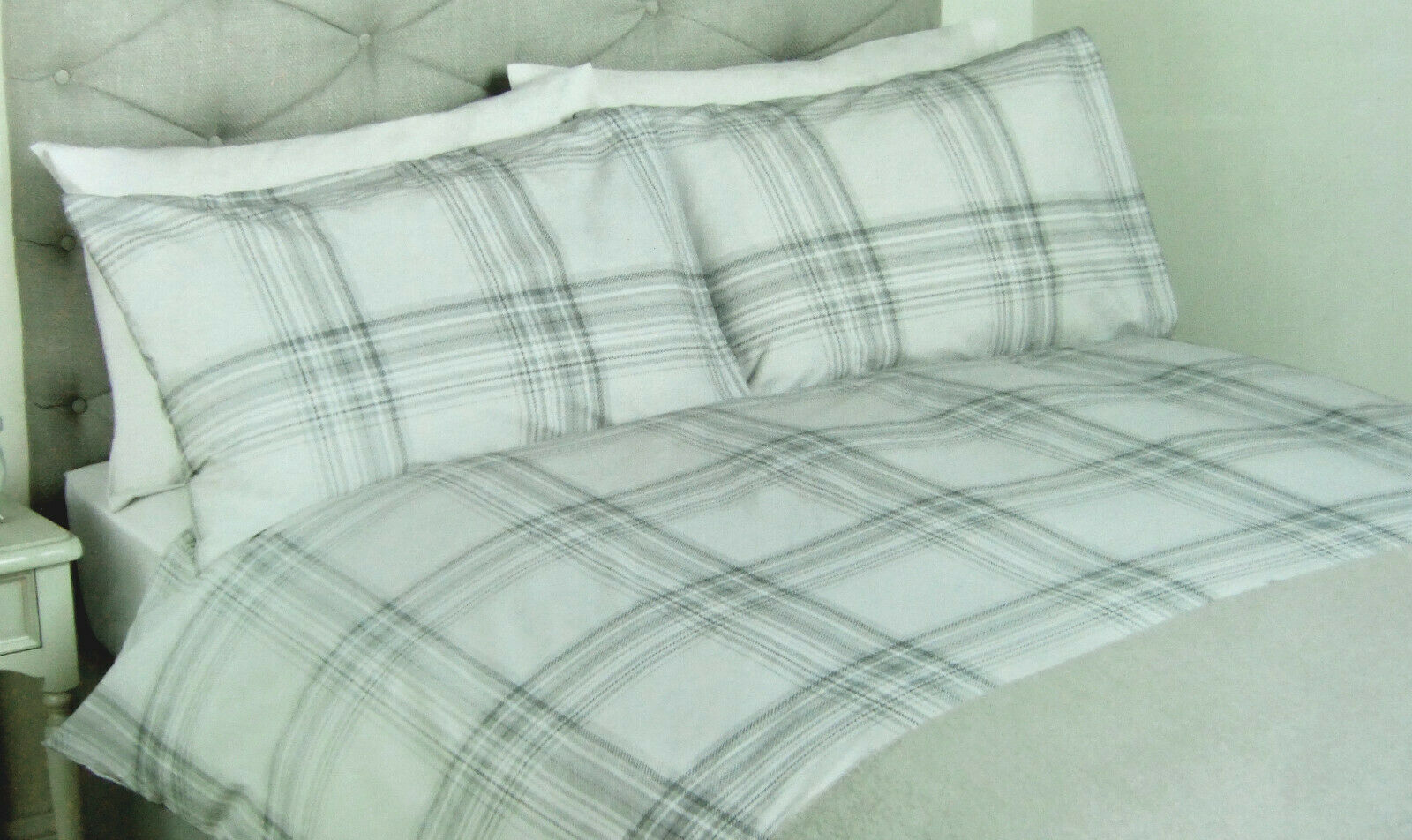 LAURA ASHLEY - BRODIE Check Steel - DOUBLE - duvet cover bedset -