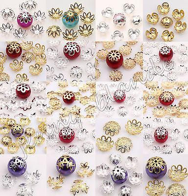 150pcs Silver/gold Plated Metal Flower Spacer Bead Caps Jewelry Finding 8-16mm To Make One Feel At Ease And Energetic Jewelry Design & Repair Bead Caps