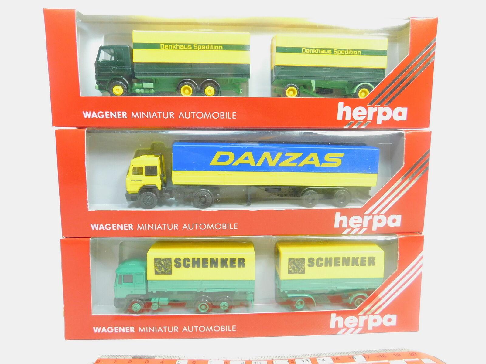 Bo915-0,5   3 x herpa h0   87 autocarro  822001 scania + + 859002 847014 iveco