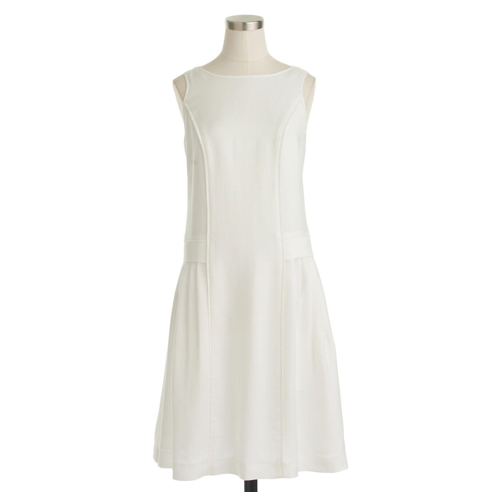 NWT J CREW Weiß DRAPEY OXFORD CREPE SLEEVELESS DRESS Sz 2 Style B8445
