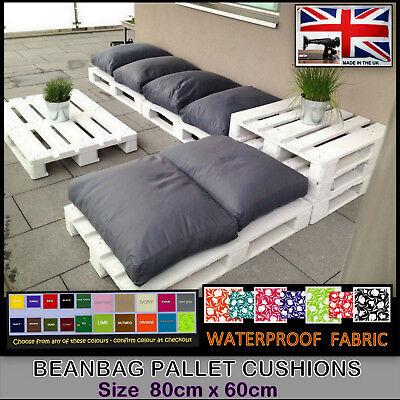 db1151bde532 Details about WATERPROOF BEAN BAG CUSHION 80 x 60 - PALLET RATTAN & GARDEN  FURNITURE BEANBAG