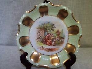 Green-Gold-Tone-Trim-Porcelain-Plate-Hand-Painted-Germany