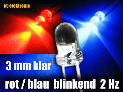 10 Stück Blink-LED 3mm rot blinkend ca 2 mal pro Sekunde 1.5-2.5 Hz