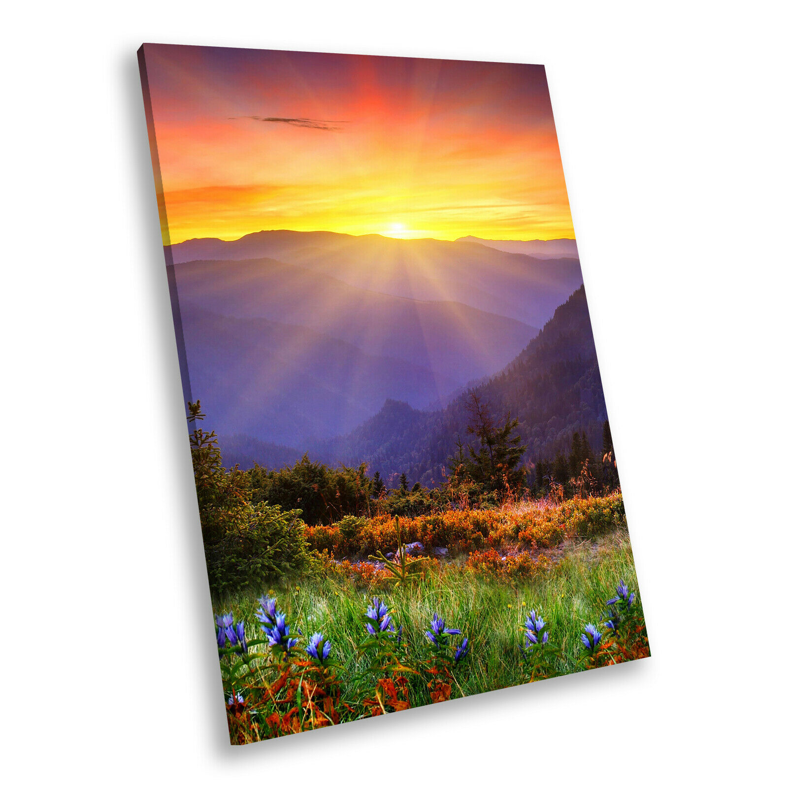 Sunrise Mountain Colourful Portrait Scenic Canvas Wall Art Large Picture Prints