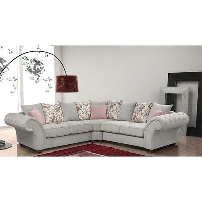 Magnificent New Large Luna Roma 3 2 Suite Or Corner Sofa Silver Fabric Chesterfield Settee Ebay Home Interior And Landscaping Mentranervesignezvosmurscom